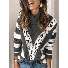 Color block Leopard Turtleneck Casual Trøjer