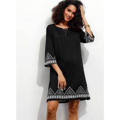Print 3/4 Sleeves Shift Above Knee Casual/Elegant/Vacation Tunic Dresses