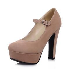 Dla kobiet Zamsz Obcas Slupek Czólenka Platforma Zakryte Palce Z Klamra obuwie