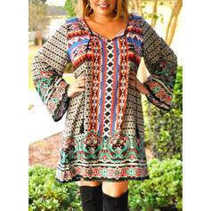Plus Size Print Long Sleeves Shift Knee Length Boho Casual Vacation Dress