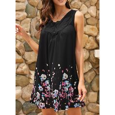 Print/Floral Sleeveless Shift Above Knee/Knee Length Casual/Boho/Vacation Dresses