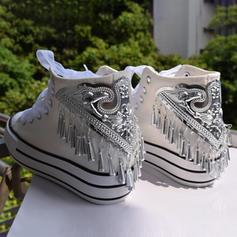 Femmes Velours Talon compensé Chaussures plates Bout fermé avec Dentelle Tassel chaussures