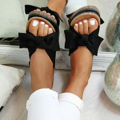 PVC Flat Heel Sandals Flats Peep Toe With Bowknot shoes