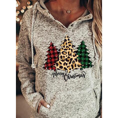 Print Grid Leopard Figure Pockets Long Sleeves Christmas Sweatshirt