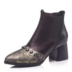 Femmes Similicuir Talon bottier Bottes Bottines avec Rivet Semelle chaussures