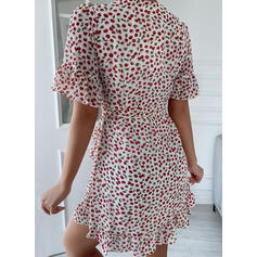 Print 1/2 Sleeves A-line Above Knee Casual Wrap/Skater Dresses