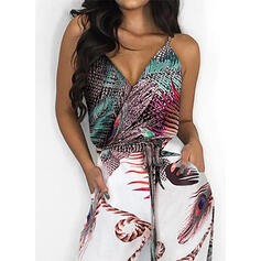 Print Casual Vacation Jumpsuits