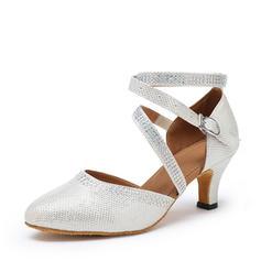 Women's Ballroom Heels Sandals Sparkling Glitter With Hollow-out Ballroom