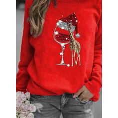 Animal Print flitry Kulatý Výstřih Dlouhé rukávy Vánoční mikina