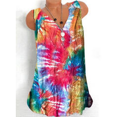 Tie Dye V-Neck Sleeveless Tank Tops