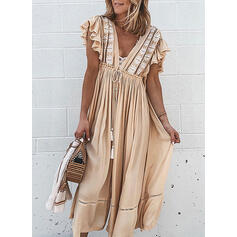 Print Short Sleeves A-line Casual/Vacation Midi Dresses