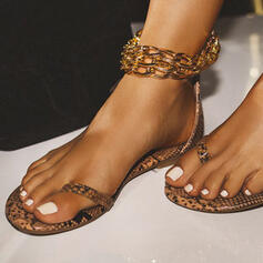 Women's PU Flat Heel Sandals With Chain shoes