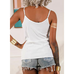 Solid Lace Spaghetti Strap Sleeveless Casual Sexy Tank Tops