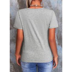 Druck Rundhalsausschnitt Kurze Ärmel T-Shirts