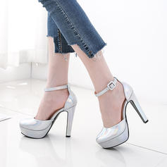 Women's PU Chunky Heel Flats Platform Closed Toe With Buckle shoes