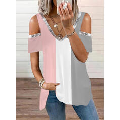 Blok Koloru Zimne ramię Krótkie rękawy T-shirty