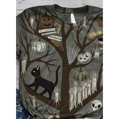 Animal-Print Rundhalsausschnitt Kurze Ärmel Freizeit Das Halloween T-shirts