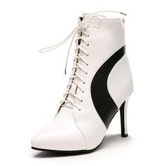 Femmes Similicuir Talon stiletto Bottes Bottines avec Zip Dentelle chaussures