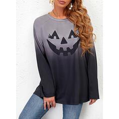 Halloween Tisk Gradient Kulatý Výstřih Dlouhé rukávy Hanorac