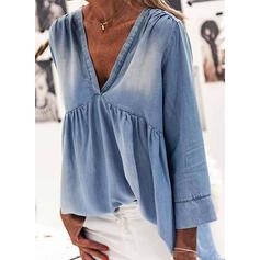 Solid V-Neck Long Sleeves Casual Denim Blouses