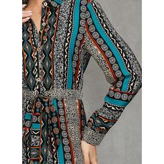 Print/Patchwork Long Sleeves A-line Midi Casual/Elegant Dresses