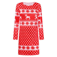 Print/Animal Print Long Sleeves Shift Above Knee Christmas/Casual Dresses