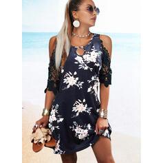 Print/Floral Lace 1/2 Sleeves Cold Shoulder Sleeve A-line Knee Length Casual Skater Dresses