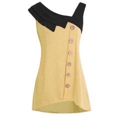 Patchwork V-Neck Sleeveless Casual Tank Tops