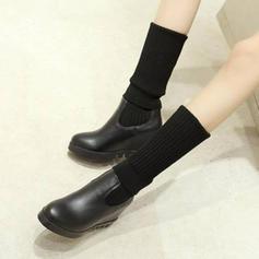 Femmes PU Talon compensé Compensée Bottes hautes avec Bande élastique chaussures