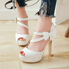 Women's PU Chunky Heel Sandals Pumps Platform Peep Toe With Bowknot shoes