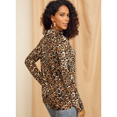 Leopard High Neck Long Sleeves Casual Knit Blouses
