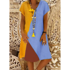 Color Block Short Sleeves A-line Knee Length Casual Dresses