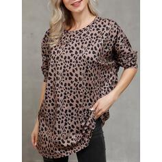 Leopardo Gola Redonda Manga Comprida Casual Tricô Blusas