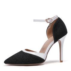 Women's Leatherette Denim Stiletto Heel Sandals Pumps Closed Toe shoes