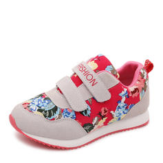 Girl's Suede Fabric Flat Heel Closed Toe Flats Sneakers & Athletic With Velcro Flower