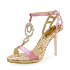 Women's Sparkling Glitter Stiletto Heel Sandals Peep Toe Slingbacks With Crystal Sparkling Glitter Hollow-out shoes