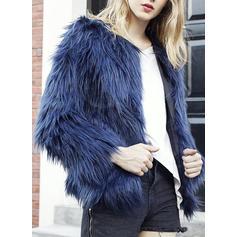 Faux Fur Long Sleeves Plain Woolen Coats