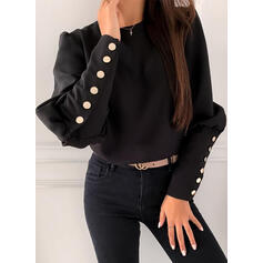 Solid Round Neck Puff Sleeves Long Sleeves Button Up Casual Blouses