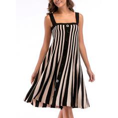 Striped Sleeveless Shift Knee Length Casual Dresses