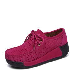 Női Szarvasbőr Ékelt sarkú Emelvény Zárt lábujj Ékelt szandál -Val Lace-up cipő