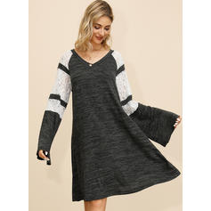 Lace/Color Block Long Sleeves Shift Knee Length Casual Dresses