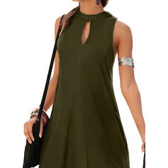 Solid Sleeveless Sheath Knee Length Little Black/Casual Dresses
