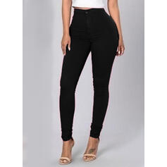 Solid Long Casual Skinny Solid Pants