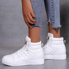 Women's PU Flat Heel Boots With Lace-up Solid Color shoes