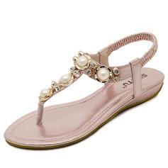 Naisten Keinonahasta Matala heel Sandaalit jossa Tekojalokivi Jäljitelmä Helmi kengät