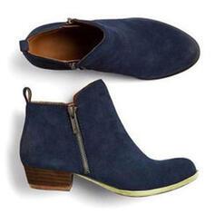 Mulheres Couro Salto robusto Botas com Zíper sapatos