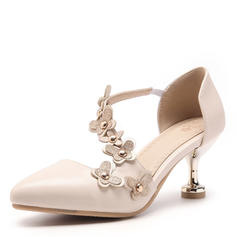 Women's Leatherette Stiletto Heel Pumps Closed Toe With Rivet Flower shoes