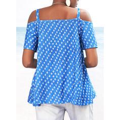 Potisk Odhalená Ramena Krátké rukávy Neformální Bluze