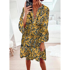 Print/Floral Long Sleeves/Flare Sleeves Shift Knee Length Casual Dresses
