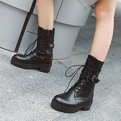 Women's PU Chunky Heel Mid-Calf Boots With Buckle Lace-up shoes